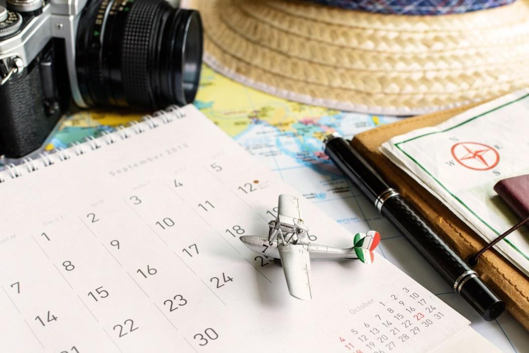 calendario, planear, viaje, vacaciones