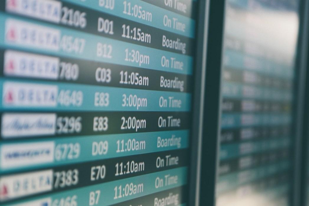 pantalla, aeropuerto, vuelos, viaje